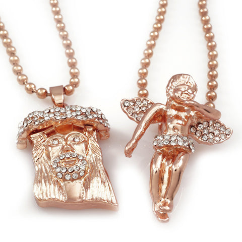 Affordable 18k Iced Out Rose Gold Angel And Jesus Piece Combo With Hip Hop Chain - White Background