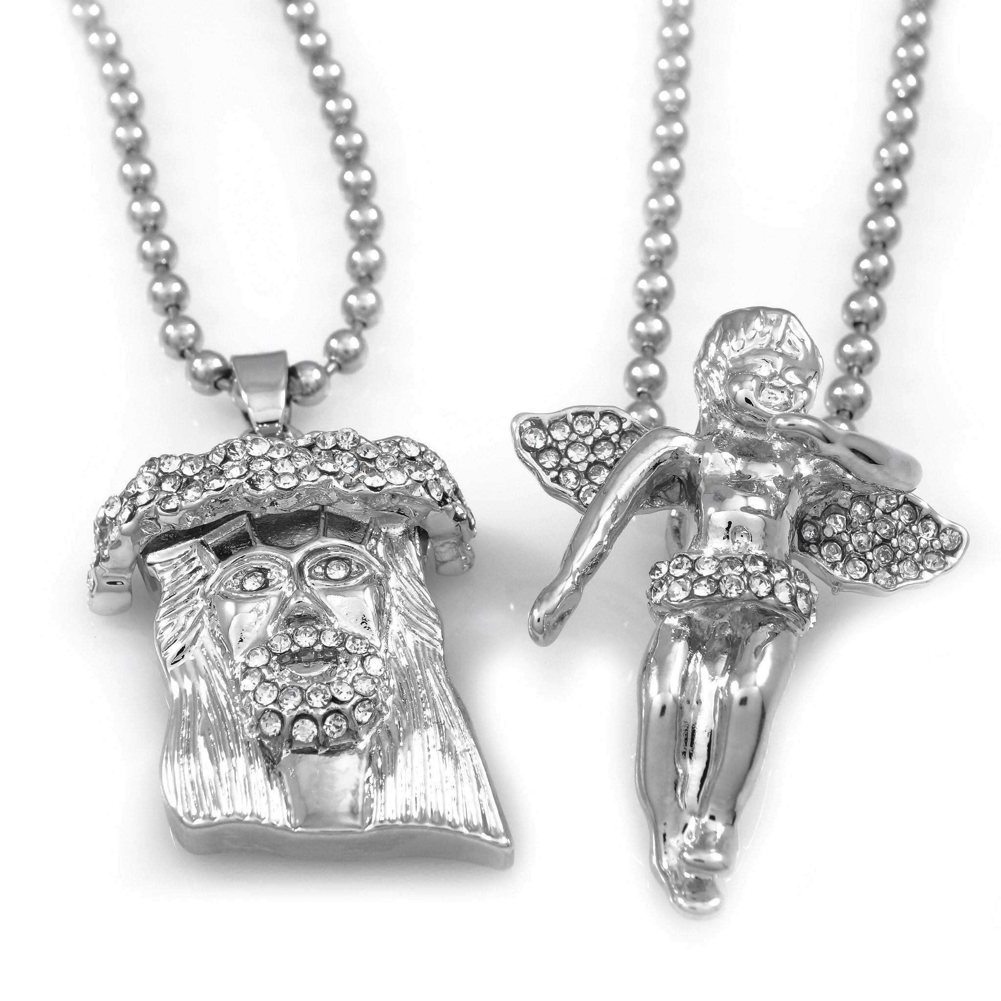 Affordable 18k Iced Out White Gold Angel And Jesus Piece Combo With Hip Hop Chain - White Background
