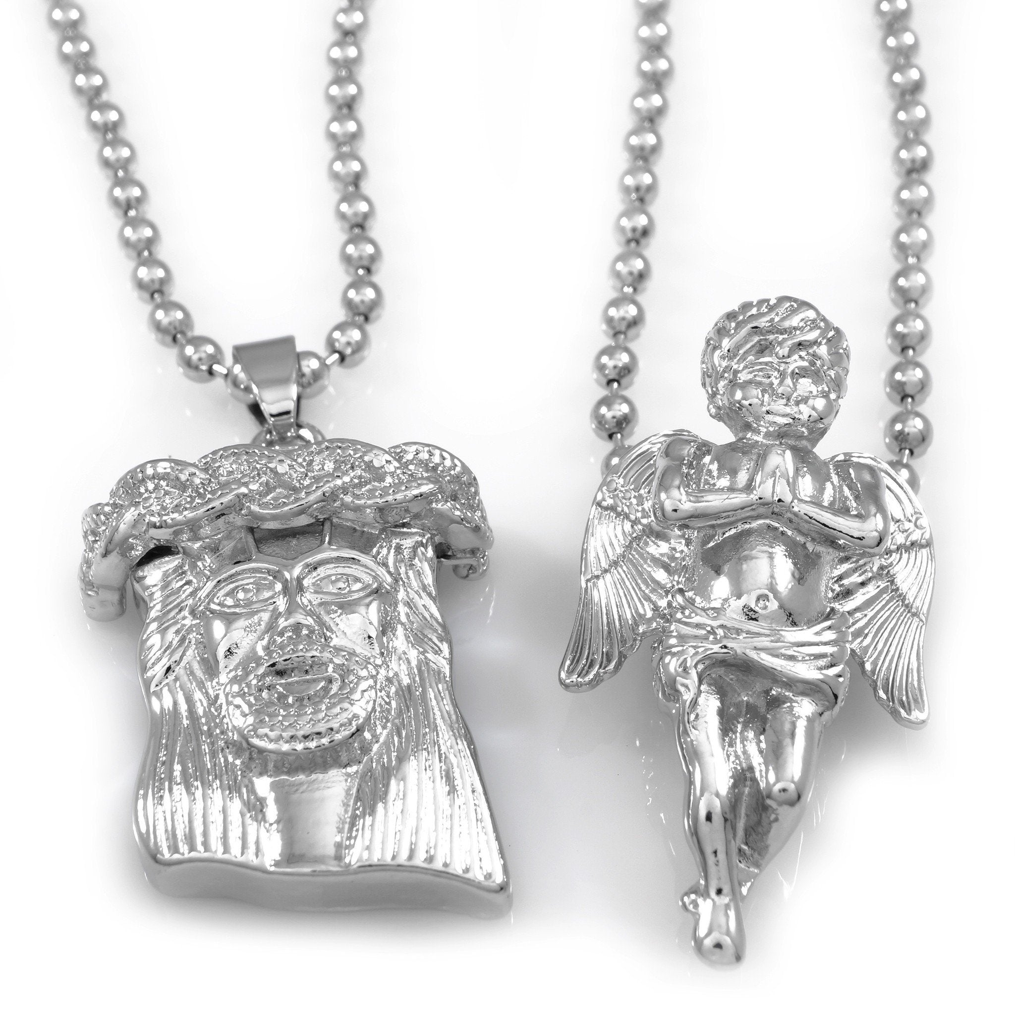 18K White Gold Angel and Jesus Piece Combo With Ball Chain