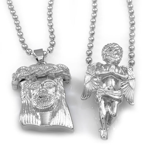 Affordable 18K White Gold Angel And Jesus Piece Combo With Hip Hop Chain - White Background