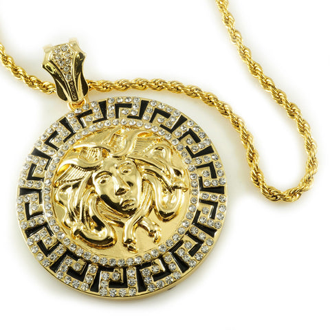 Affordable 14k Gold Iced Out Medusa Pendant With Hip Hop Chain - White Background