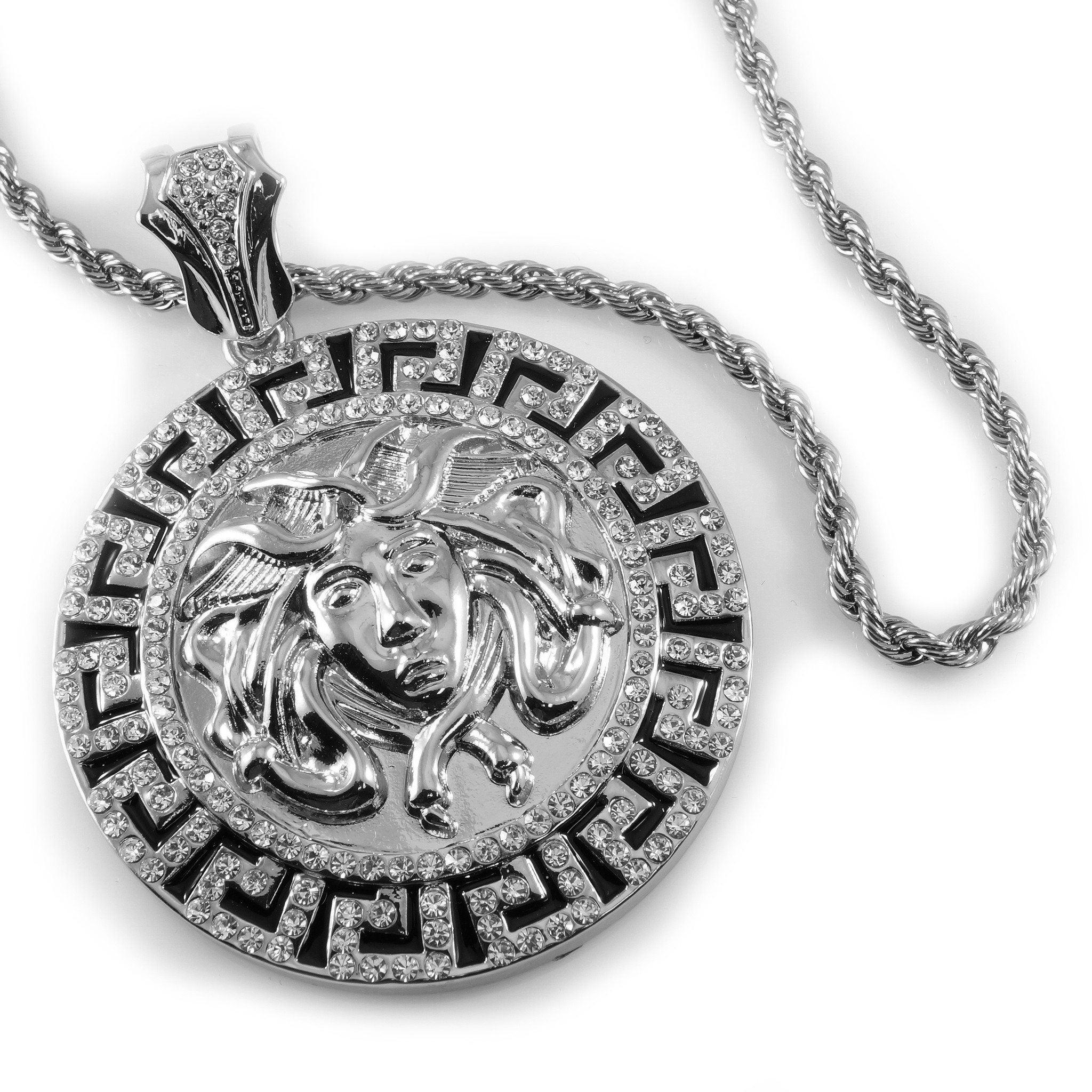 Pendants 14k White Gold Iced Out Medusa Pendant With Hip Hop Chain - White Background