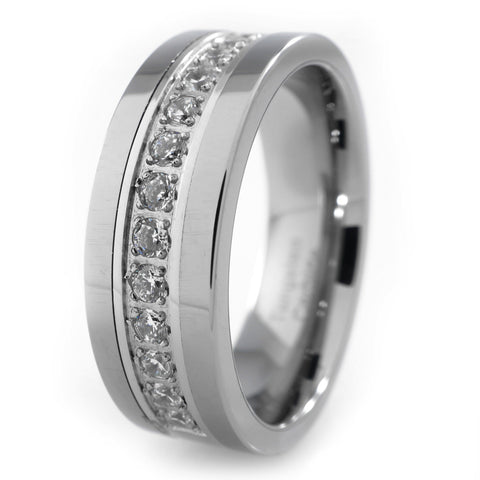13 CZ Stone Silver Tungsten Carbide Ring 8MM