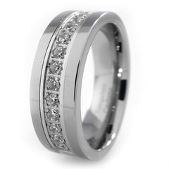 Rings - 13 CZ Stone Silver Tungsten Carbide Ring 8MM