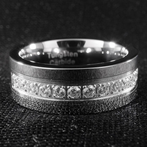 Affordable 13 CZ Stone Silver Tungsten Carbide Ring 8MM - Front View