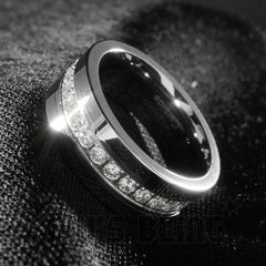 Affordable 13 CZ Stone Silver Tungsten Carbide Ring 8MM - Tilted Side View