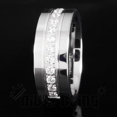 Affordable 13 CZ Stone Silver Tungsten Carbide Ring 8MM - Black Background