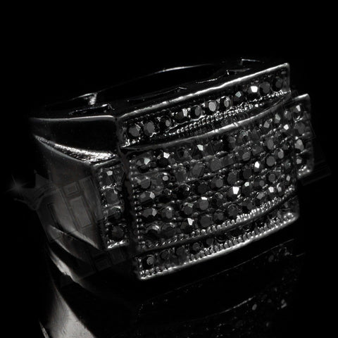 Affordable 14k Black Gold Iced Out Rectangular Pinky Hip Hop Ring - Black Background