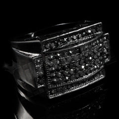 14k Black Gold Iced Rectangular Pinky Ring