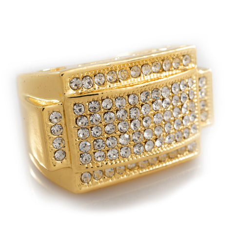 Affordable 14k Gold Iced Out Rectangular Pinky Hip Hop Ring - White Background