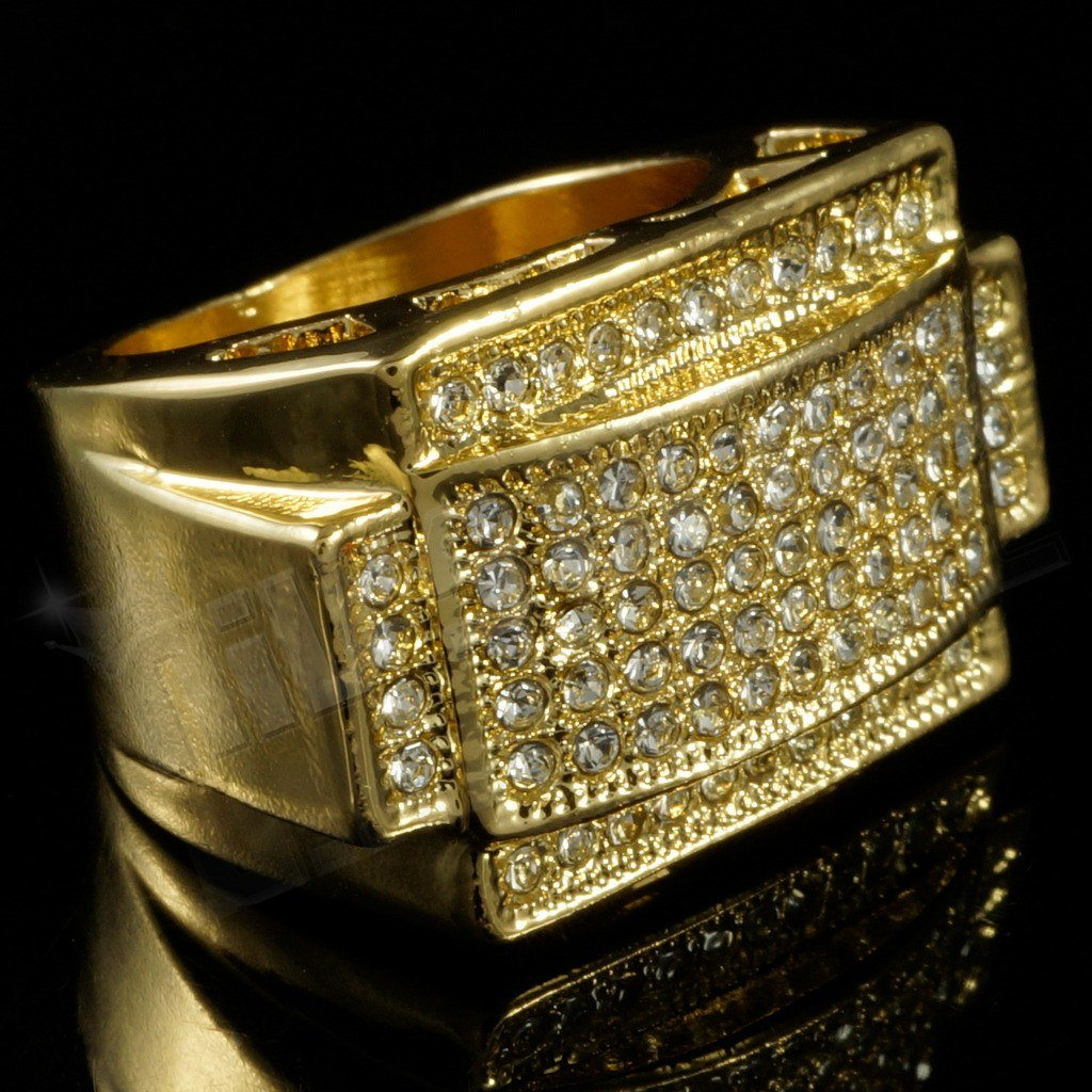 14k Gold Iced Out Rectangular Pinky Ring