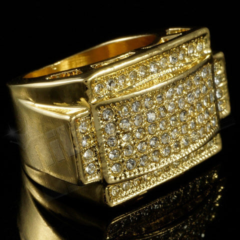 Affordable 14k Gold Iced Out Rectangular Pinky Hip Hop Ring - Black Background