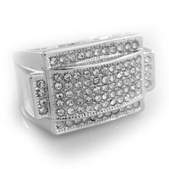 Affordable 14k White Gold Iced Out Rectangular Pinky Hip Hop Ring - White Background
