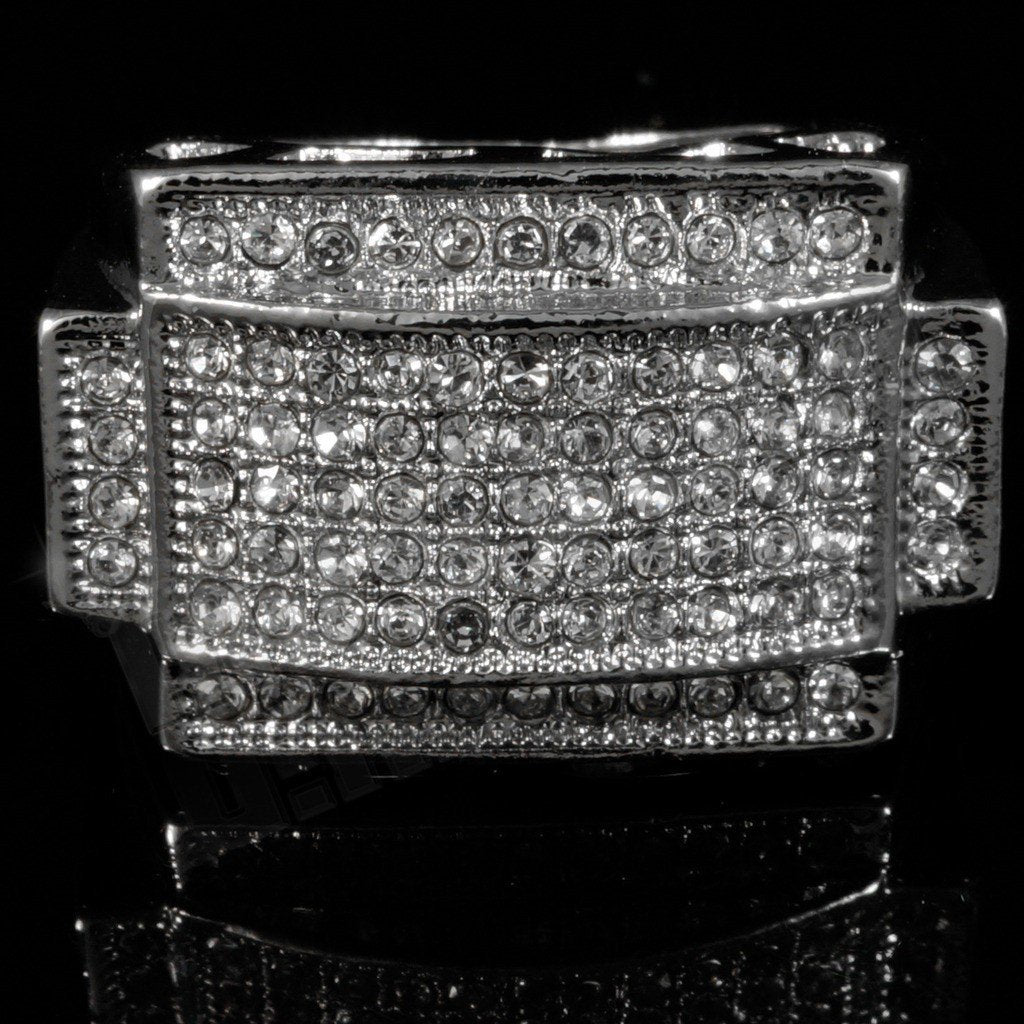 Affordable 14k White Gold Iced Out Rectangular Pinky Hip Hop Ring - Front View