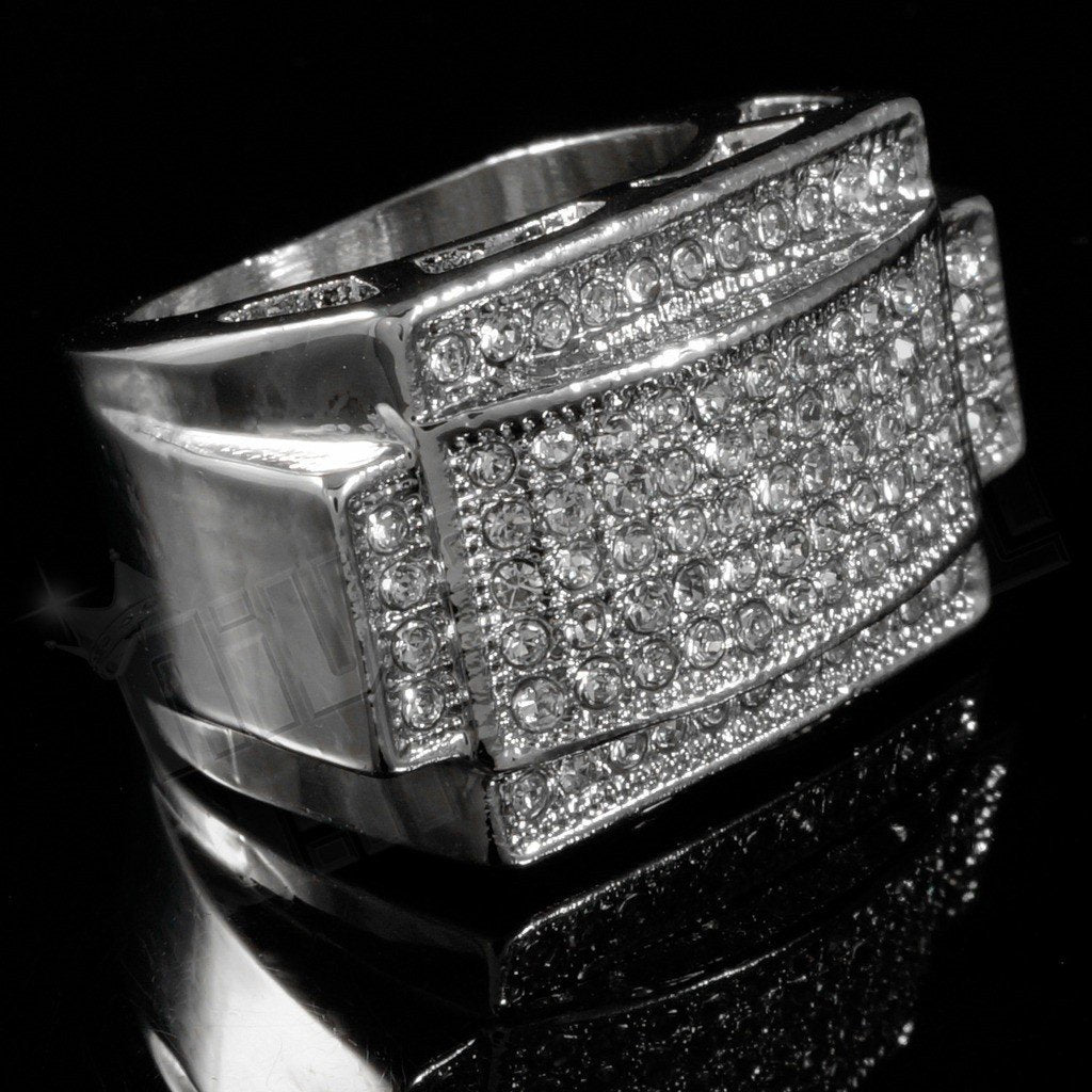14k White Gold Iced Rectangular Pinky Ring