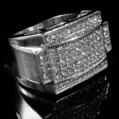 14k White Gold Iced Out Rectangular Pinky Ring