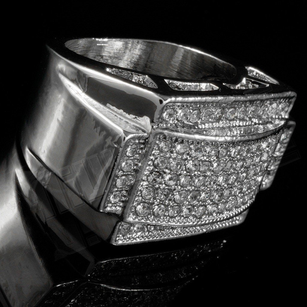 Affordable 14k White Gold Iced Out Rectangular Pinky Hip Hop Ring - Tilted Side View