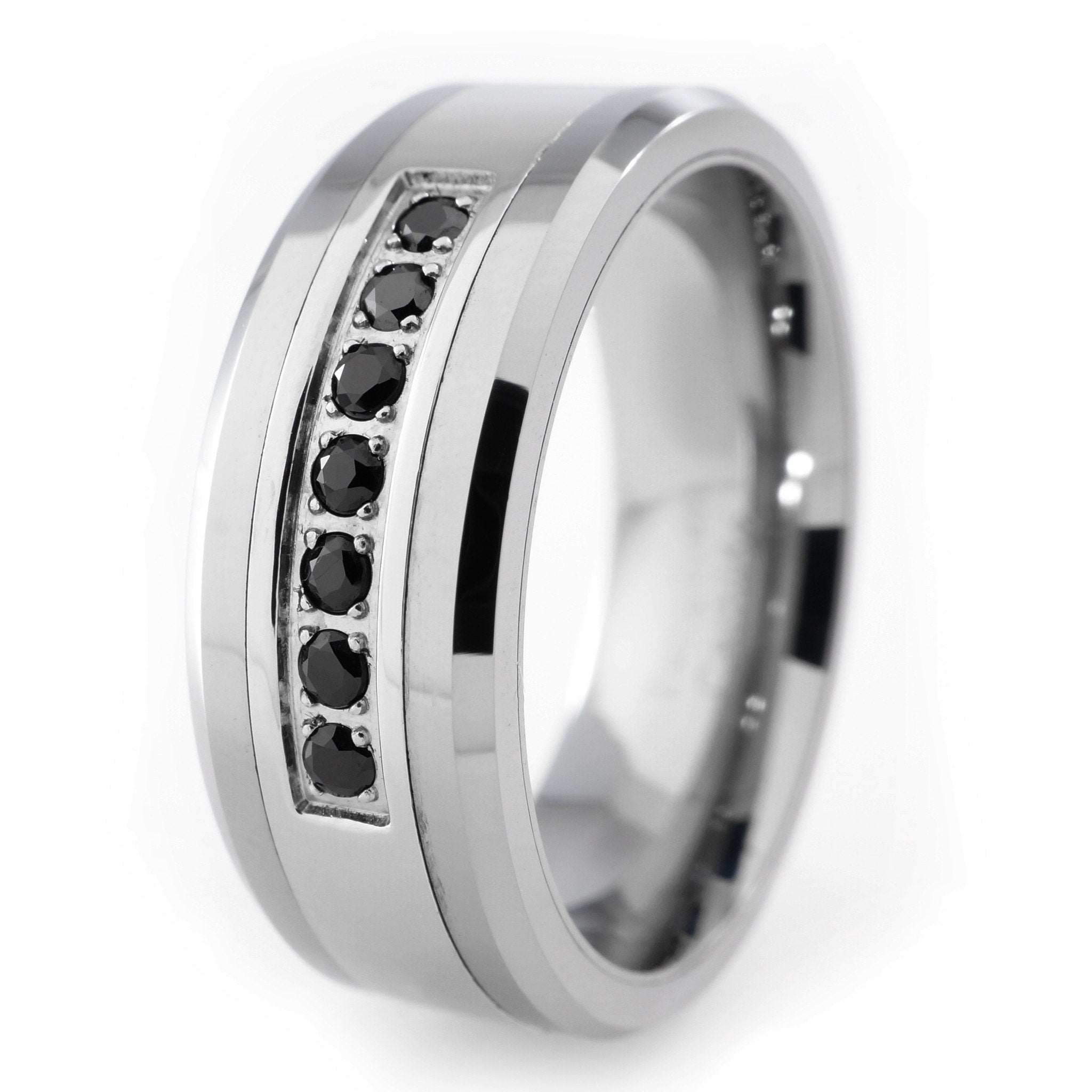 black diamond cz tungsten carbide simulated ring 8mm niv. Black Bedroom Furniture Sets. Home Design Ideas