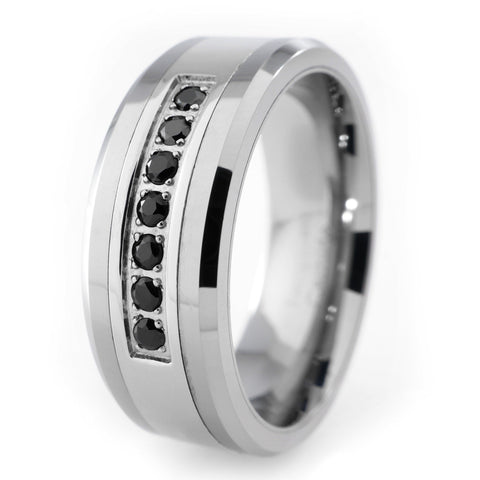 Affordable Black Diamond CZ Tungsten Carbide Simulated Ring 8MM - White Background