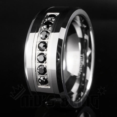 Affordable Black Diamond CZ Tungsten Carbide Simulated Ring 8MM - Black Background
