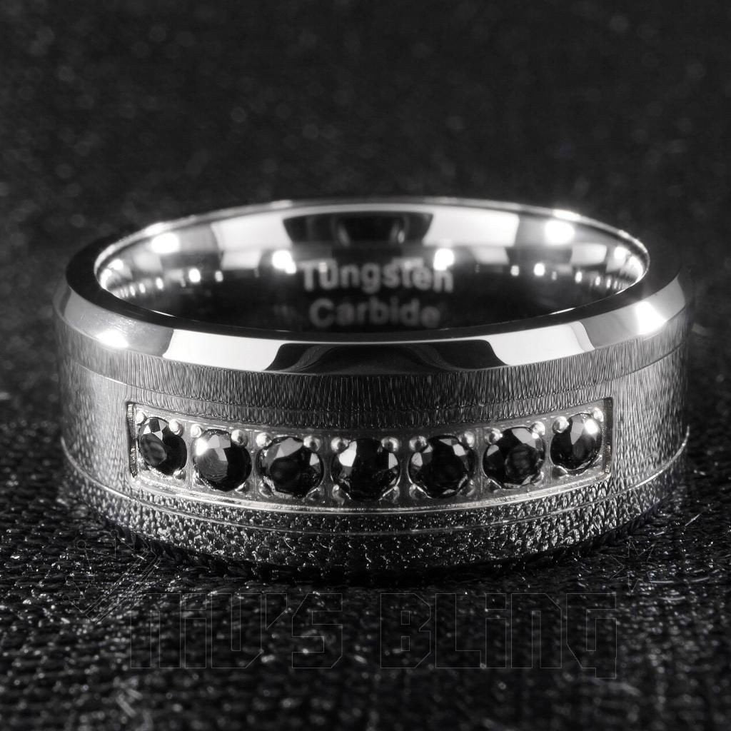 Affordable Black Diamond CZ Tungsten Carbide Simulated Ring 8MM - Front View