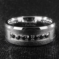 Rings - Black Diamond CZ Tungsten Carbide Simulated Ring 8MM