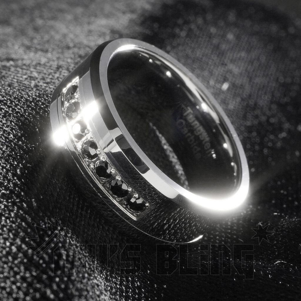 Affordable Black Diamond CZ Tungsten Carbide Simulated Ring 8MM - Tilted Side View