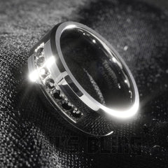 Black Diamond CZ Tungsten Carbide Simulated Ring 8MM