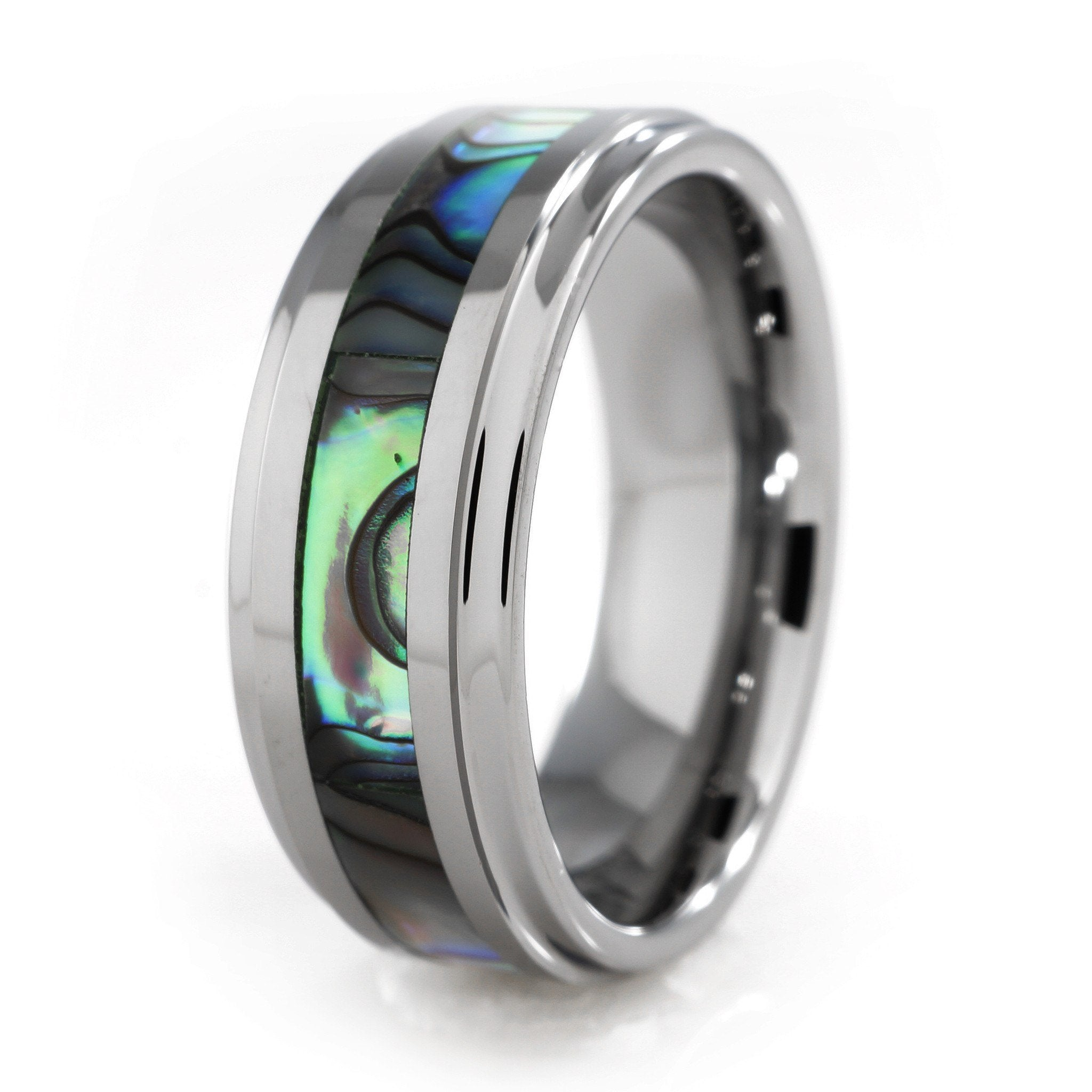 Affordable Abalone Shell Silver Tungsten Carbide Ring 8MM - White Background