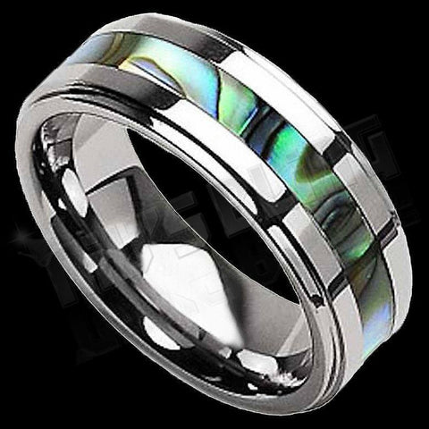 Affordable Abalone Shell Silver Tungsten Carbide Ring 8MM - Black Background