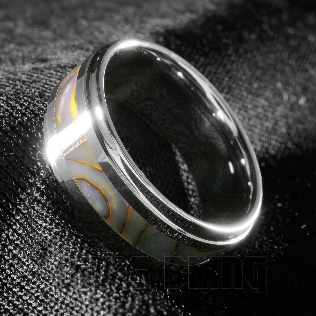 Affordable Abalone Shell Silver Tungsten Carbide Ring 8MM - Tilted Side View