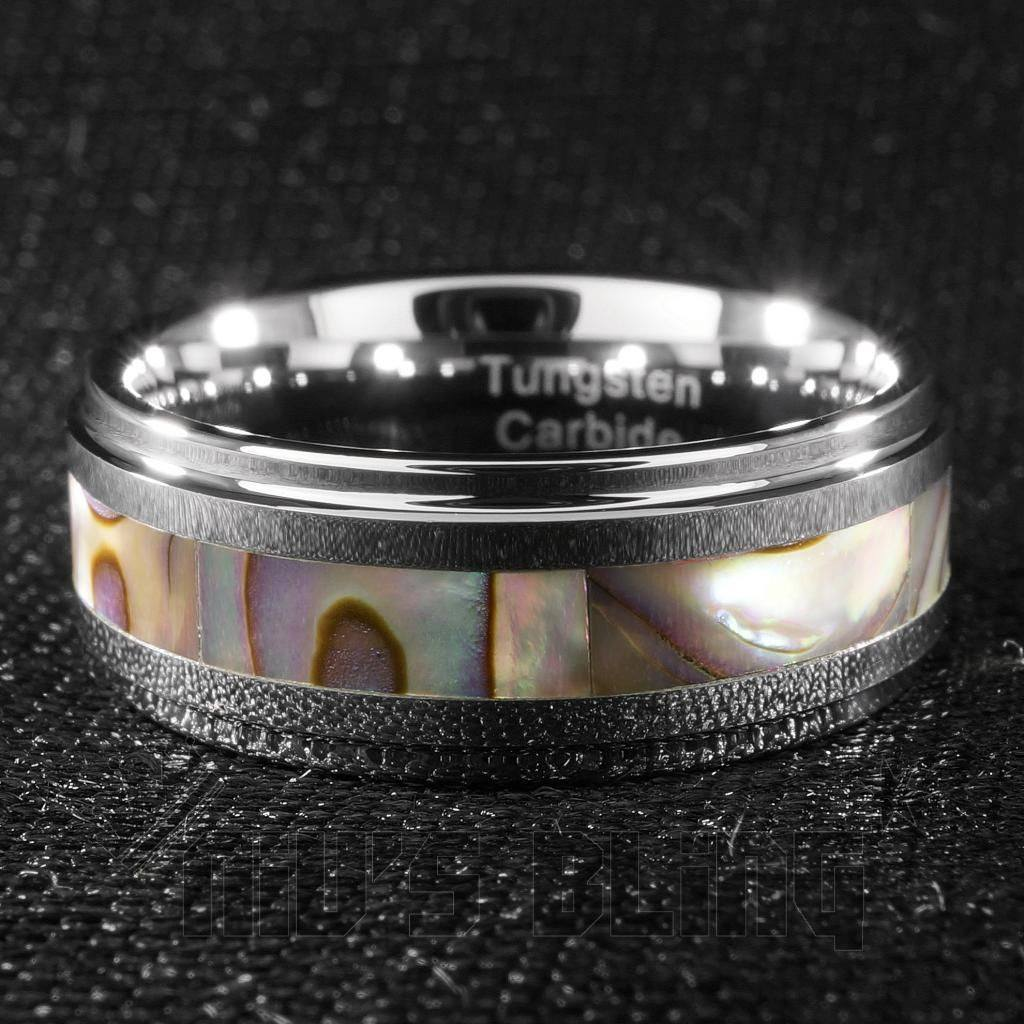 Affordable Abalone Shell Silver Tungsten Carbide Ring 8MM - Front View