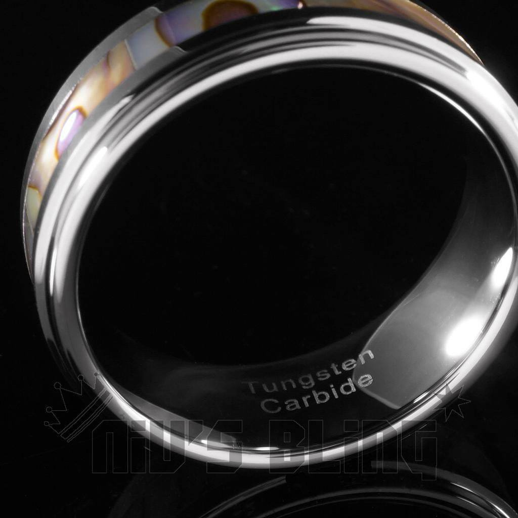 Affordable Abalone Shell Silver Tungsten Carbide Ring 8MM - Side View