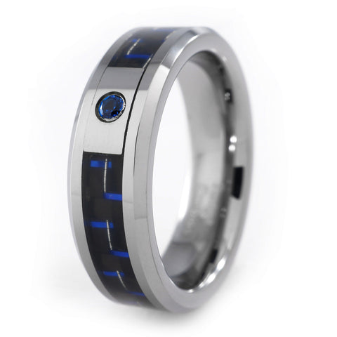 Affordable Black And Blue Carbon Fiber Inlay Tungsten Carbide Ring - White Background