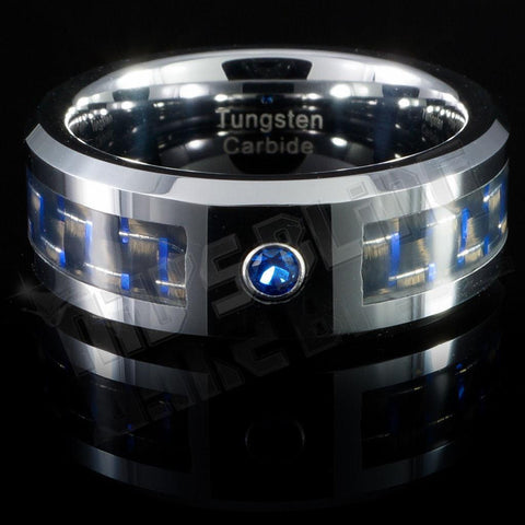 Affordable Black And Blue Carbon Fiber Inlay Tungsten Carbide Ring - Front View