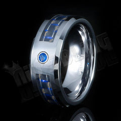 Black and Blue Carbon Fiber Inlay Tungsten Carbide Ring