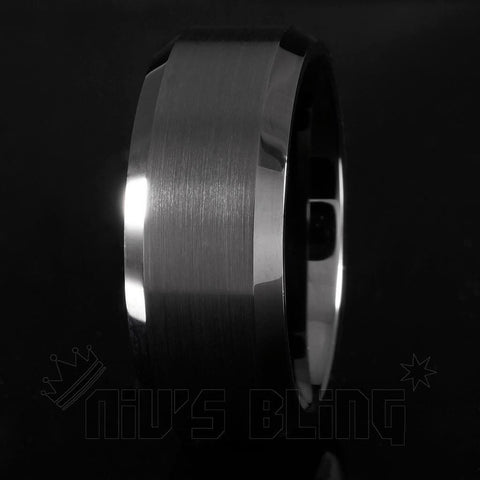 Affordable Black Tungsten Carbide Ring 8MM - Black Background