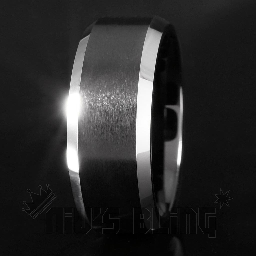 Affordable Black Brushed Stripe Tungsten Carbide Ring 8MM - Black Background