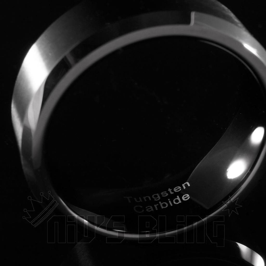 Black Brushed Stripe Tungsten Carbide Ring 8MM