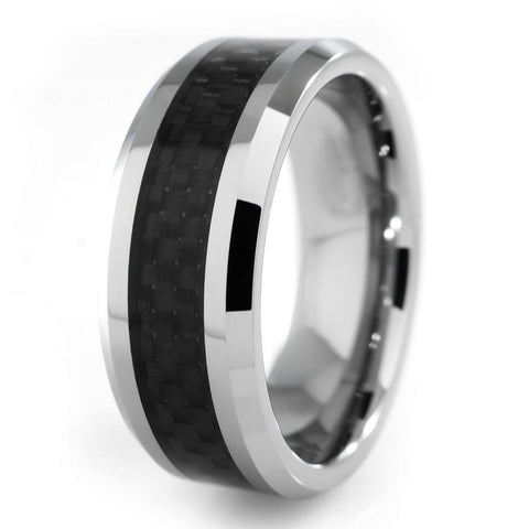 Affordable Black Carbon Fiber Silver Tungsten Carbide Ring 8MM - White Background