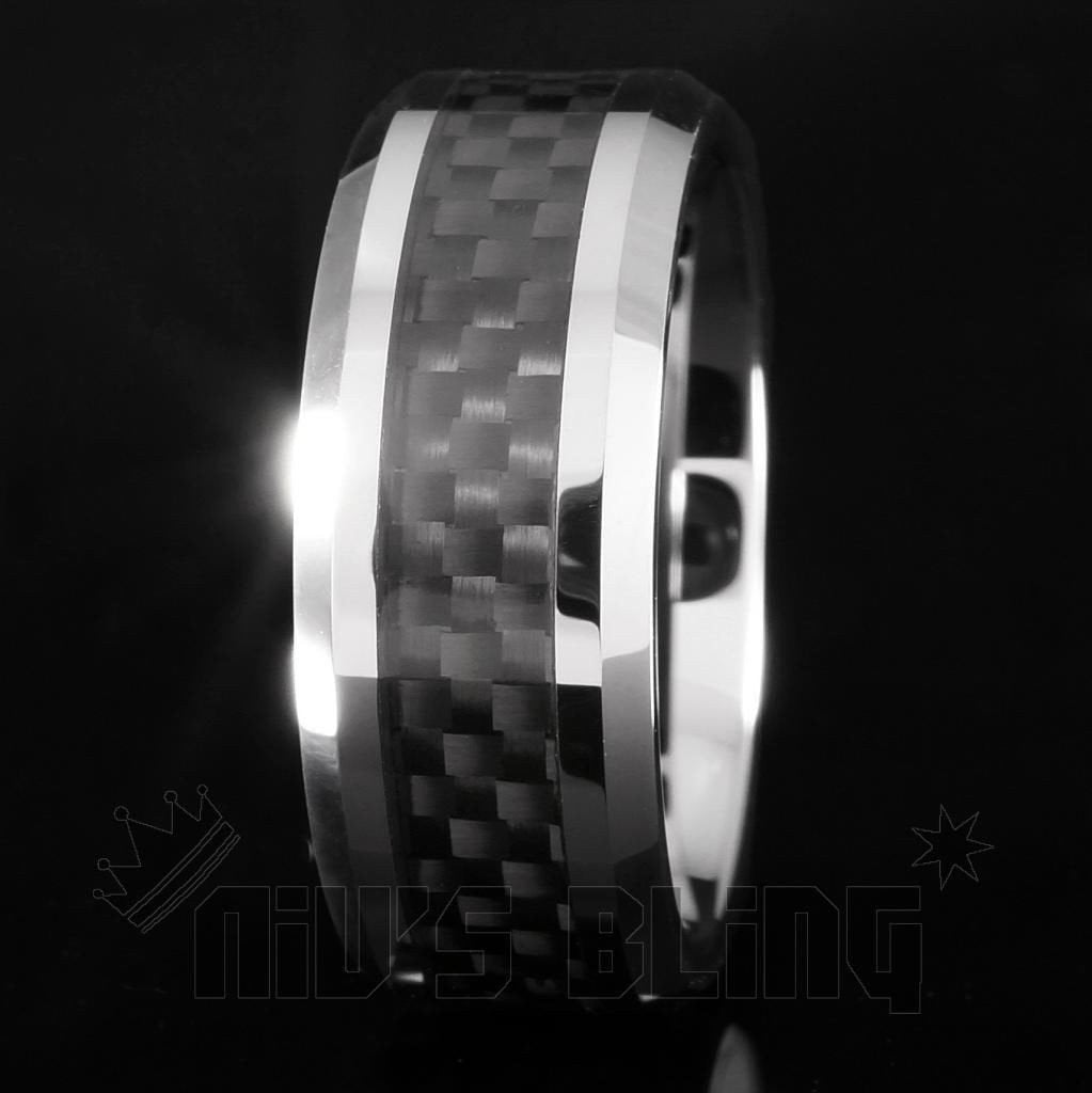 Black Carbon Fiber Silver Tungsten Carbide Ring 8MM