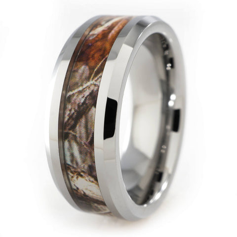 Affordable Forest Wood Camouflage Tungsten Carbide Ring 8MM - White Background