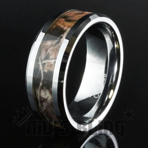 Affordable Forest Wood Camouflage Tungsten Carbide Ring 8MM - Black Background