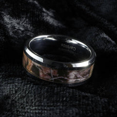Forest Wood Camouflage Tungsten Carbide Ring 8MM