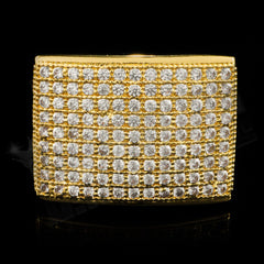 Affordable 18K Gold 19mm Iced Out Micropave Hip Hop Ring - Front View