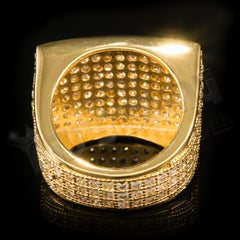 Affordable 18K Gold 19mm Iced Out Micropave Hip Hop Ring - Back View