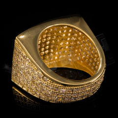 Affordable 18K Gold 19mm Iced Out Micropave Hip Hop Ring - Side View