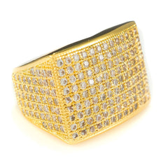 Affordable 18K Gold 19mm Iced Out Micropave Hip Hop Ring - White Background