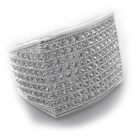 18K White Gold 19mm Iced Out Micropave Ring