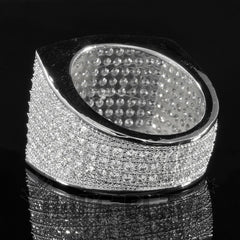 Rings - 18K White Gold 19mm Iced Out Micropave Ring